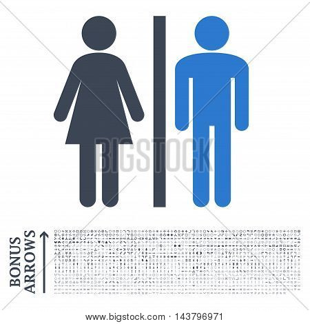 WC Persons icon with 1200 bonus arrow and direction pictograms. Vector illustration style is flat iconic bicolor symbols, smooth blue colors, white background.