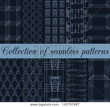 Art Deco Seamless Patterns. Set Of Ten Geometric Backgrounds. Style 1920's, 1930's. Vector Illustrat