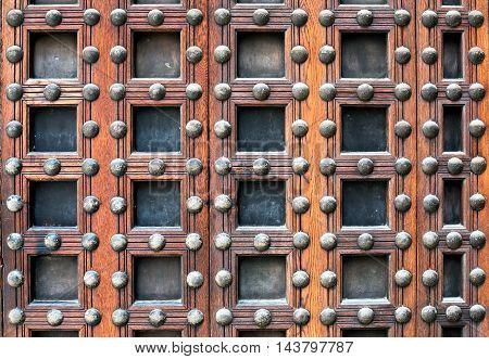 Old Wooden Door With Metal Studs