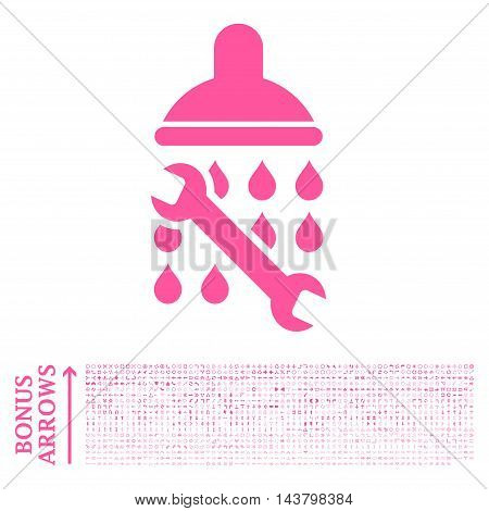 Shower Plumbing icon with 1200 bonus arrow and direction pictograms. Vector illustration style is flat iconic symbols, pink color, white background.