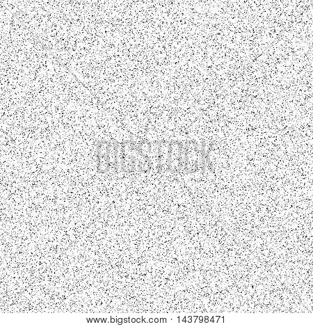 White abstract background with black film grain, noise, dotwork, halftone, grunge texture for design concepts, banners, posters, web, presentations and prints. Vector illustration.