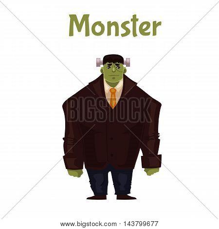 Man dressed in monster costume for Halloween, cartoon style vector illustration isolated on white background. Monster, zombie, Frankenstein character for Halloween carnival