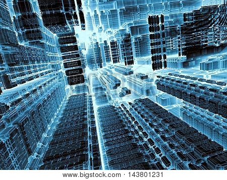 Technology abstract background - computer-generated image. 3d render - fractal illustration in tech style: streets of surreal city or room space station. Trendy concept for high-tech, telecommunications, industry design projects.