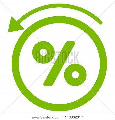 Rebate Percent icon. Vector style is flat iconic symbol with rounded angles, eco green color, white background.