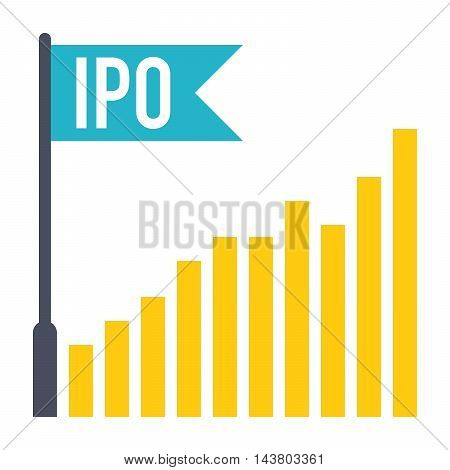 IPO concept with bar chart and flag in flat style.