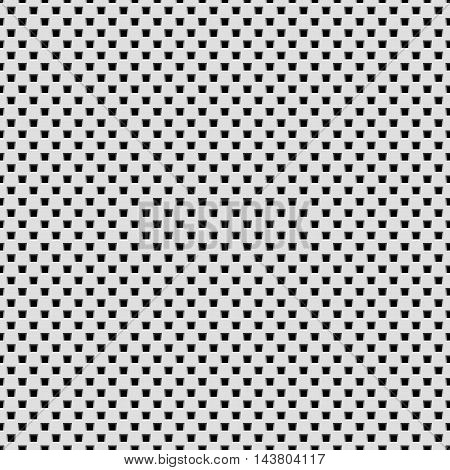 White abstract technology background with seamless square perforated speaker grill texture for web, user interfaces, UI, applications, apps, business presentations and prints. Vector illustration.