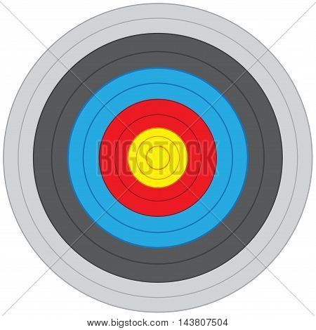 Archery target on white background isolated vector illustration.