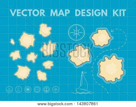 Treasure map with islands. Vector design kit for game interface