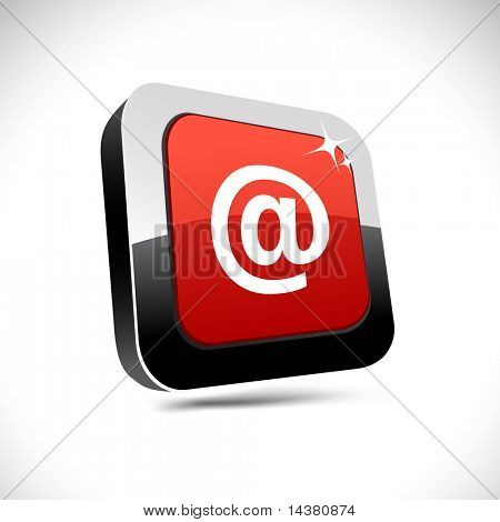 Arroba metallic 3d vibrant square icon.