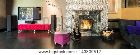 Silver Shiny Fireplace