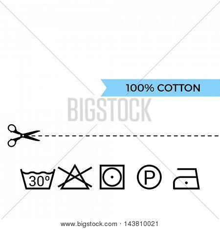 Guide to laundry care symbols. Cotton. Scissors with cut lines