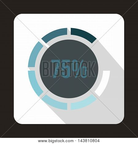 Web preloader, 75 percent icon in flat style on a white background