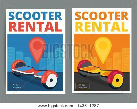 Trendy gyroscooter rental service poster design. Modern vector self-balancing scooter hire advertisement flyer in A4 size. Hoverboard and city background.