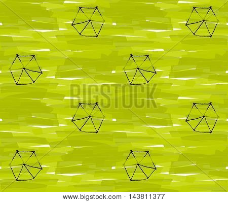 Artistic Color Brushed Green Texture With Black Hexagons
