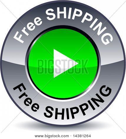 Free shipping round metallic button. Vector.