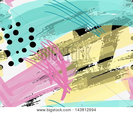 Artistic Color Brushed Yellow Pink And Green Strokes With Black Dots