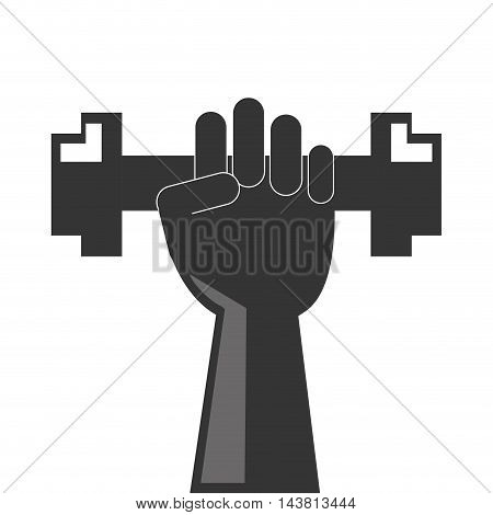 flat design hand holding single dumbell icon vector illustration