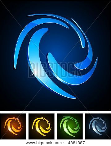 Swirl 3d vector icon such logos. poster