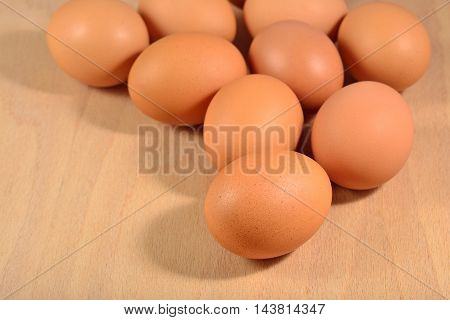 Fresh Brown Eggs Close-up On