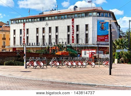 Perpignan France - April 8, 2016: Exterior of shopping mall in Perpignan downtown. Pyrenees-Orientales. France