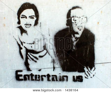 Grafitti Stencil Couple Men Woman