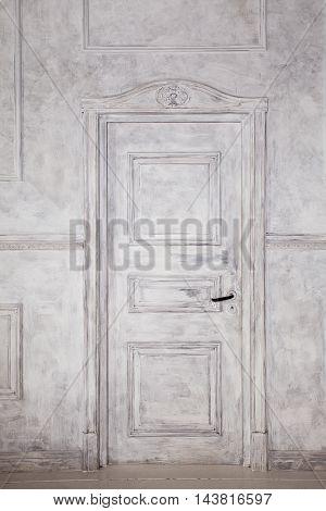 Vintage Wooden gray Doors. Interior Retro Background