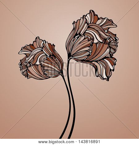 Two brown tulips. Decorative composition with hand drawn flowers. Vintage line art tulips. Card template. Vector illustration.