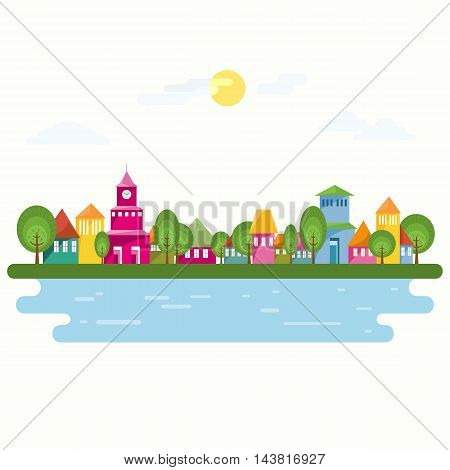 Small town at river. Cosy seaside town. Abstract street with colorful homes and blue water lake. Flat design vector illustration.