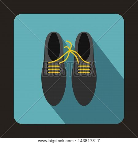 Gray shoes with laces tied together icon in flat style on a baby blue background