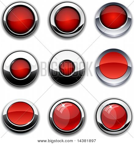 Red high-detailed buttons in different styles.