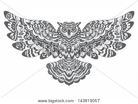 Stylized Decorative  Owl. Drawing for Coloring Book or Print for T-shirt .