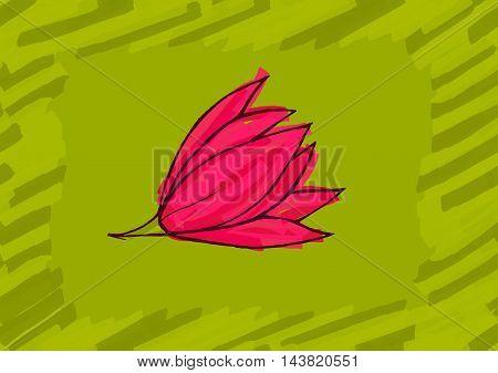 Big Pink Flower On Green
