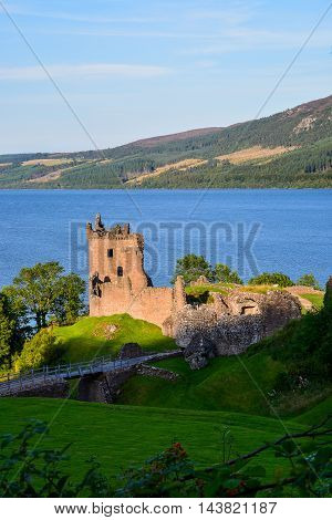 Ruins of Urquhart Castle with Loch Ness in the background, Scotland