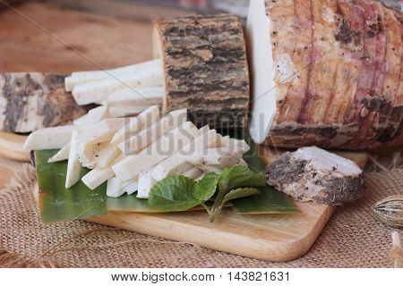 Fresh taro and taro sliced for cooking