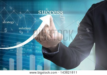 businessman hand with drawing a graph chart and business strategy for business success finance and banking concept on whiteboard