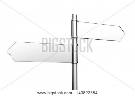 Two empty white sign pointing in different directions (3D Rendering)