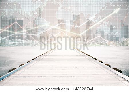 Wooden pier on city background with forex chart and sunlight. Financial growth concept