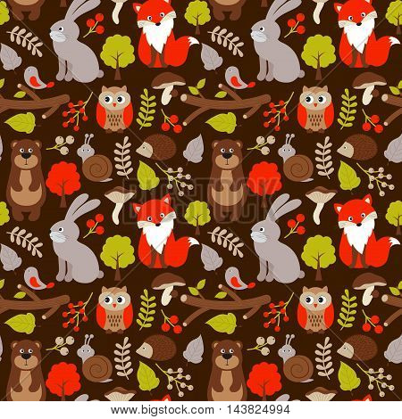 Vector woodland seamless pattern with forest animals