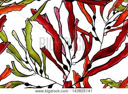 Kelp Seaweed Brown Watercolor