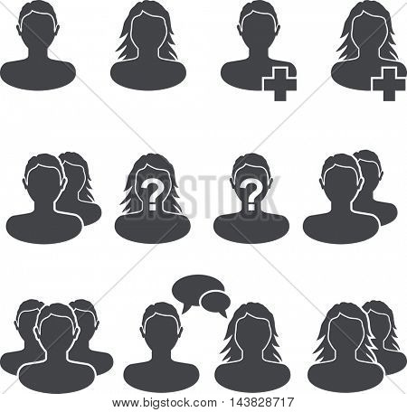 Web site user black and white icon vector set with male and female shapes. Meeting website man, woman and couples icons.