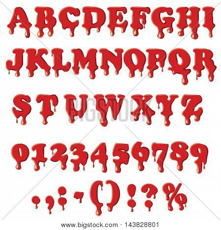 Bloody alphabet with numbers isolated on white background. English font in blood texture set collection vector illustration