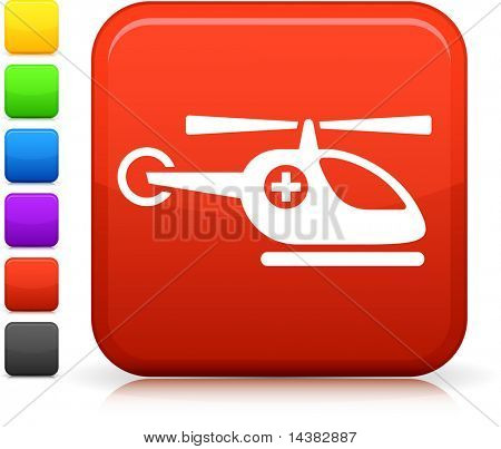 Medevac icon on square internet button  Six color options included.