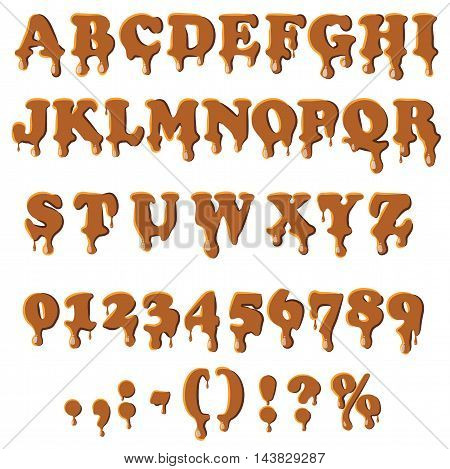 Caramel alphabet with numbers isolated on white background. English font in caramel texture set collection vector illustration