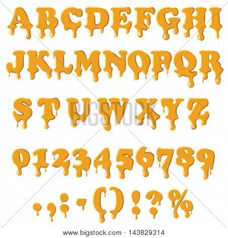 Caramel alphabet with numbers isolated on white background. English font in honey texture set collection vector illustration