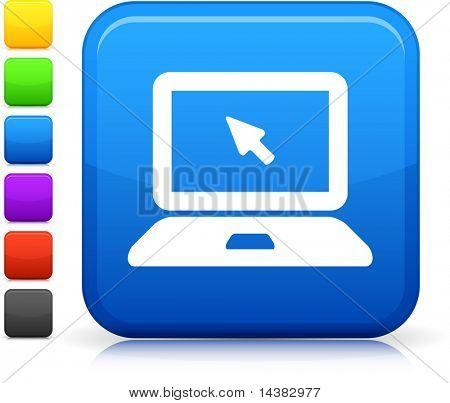 Laptop Computersymbol auf quadratische Taste sechs Farbe Internetoptionen enthalten.