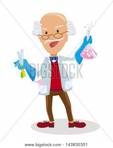 Vector illustration of Cartoon Scientist doing experiments