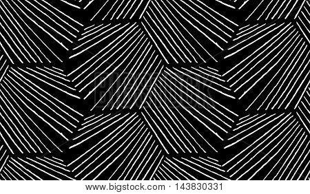 Hatched Diagonally Hexagonal Shapes On Black