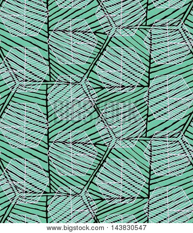 Hatched Hexagons Layered On Green