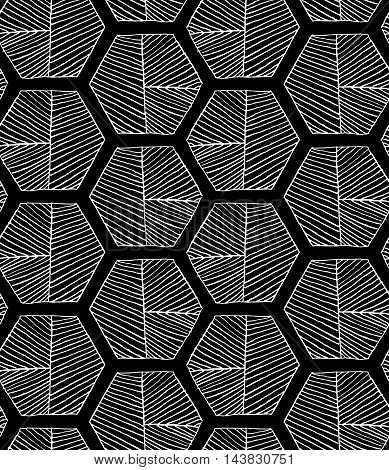 Hatched Hexagons With Seam On Black
