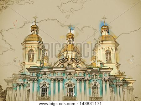 Saint Nicholas' Cathedral, Nikolsky sobor, popularly known as the Sailors' Chruch in Saint Petersburg, Russia. Vintage painting, background illustration, beautiful picture, travel texture